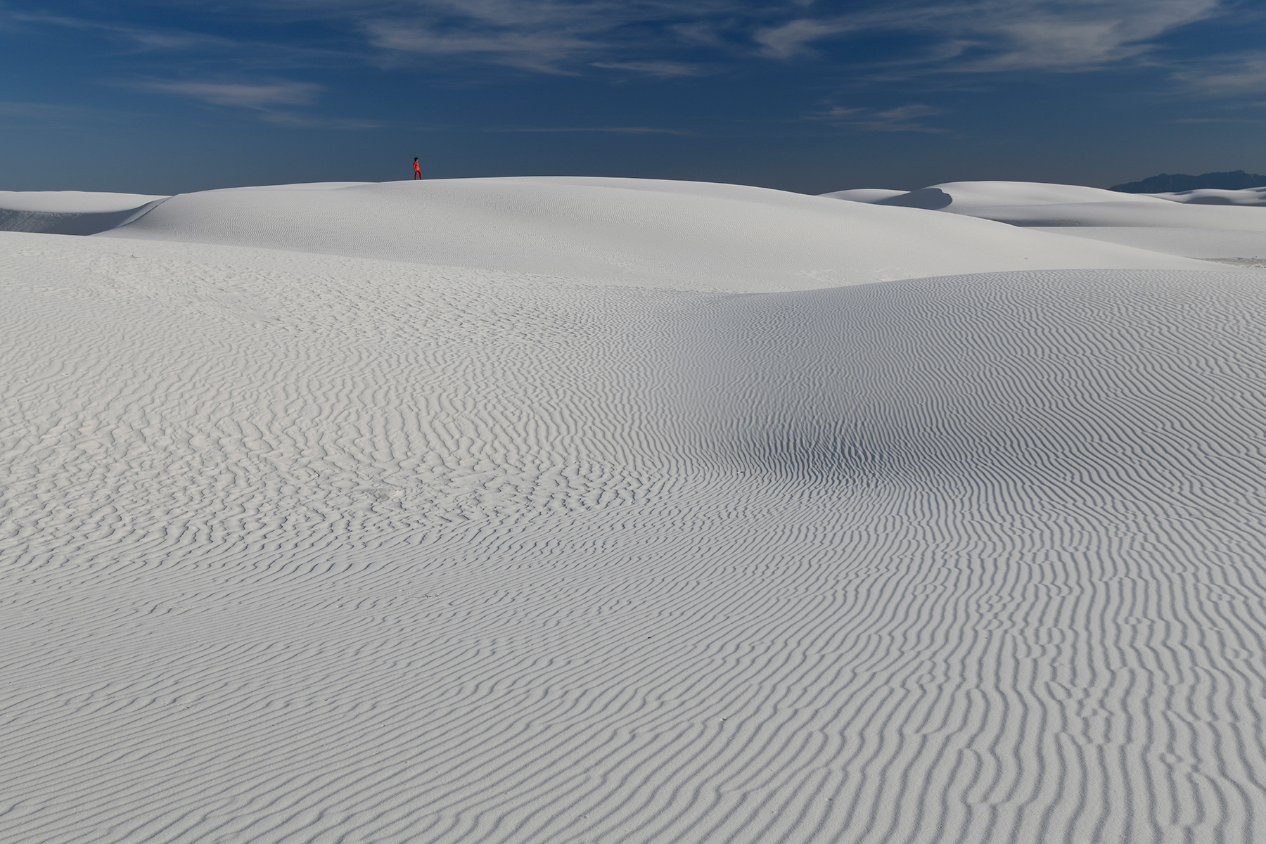 White Sands National Park (Nouveau Mexique, USA) - Ensemble de dunes de sable blanc de gypse avec rides