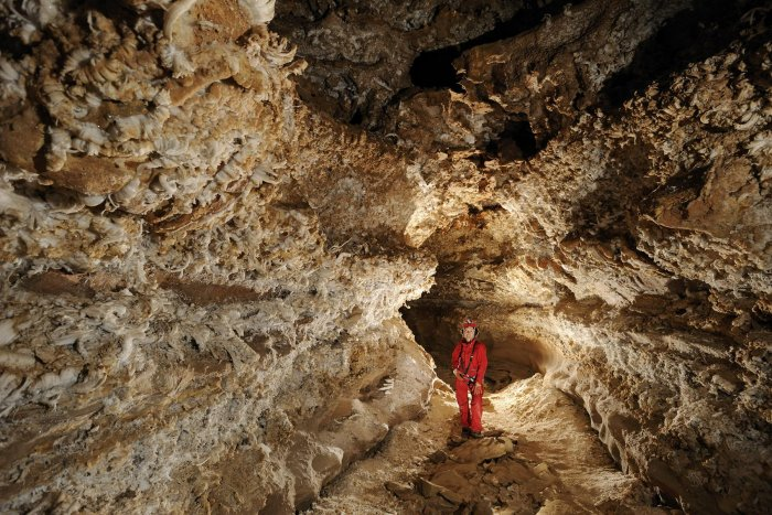 Mammoth Cave (Kentucky) - Galerie couverte de gypse dans New Discovery.(SPE 09-0207)