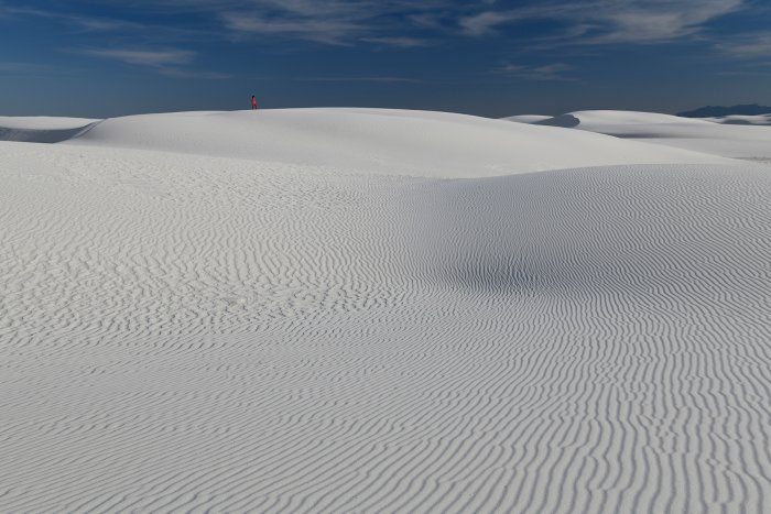 White Sands National Park (Nouveau Mexique, USA) - Ensemble de dunes de sable blanc de gypse avec rides(VO-18-0367)